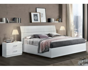 Bedkader Mary 160x200cm in hoogglans wit-wit