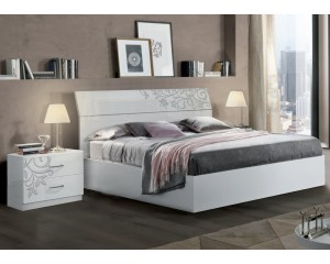 Bedkader Mary 160x200cm in hoogglans wit-flower